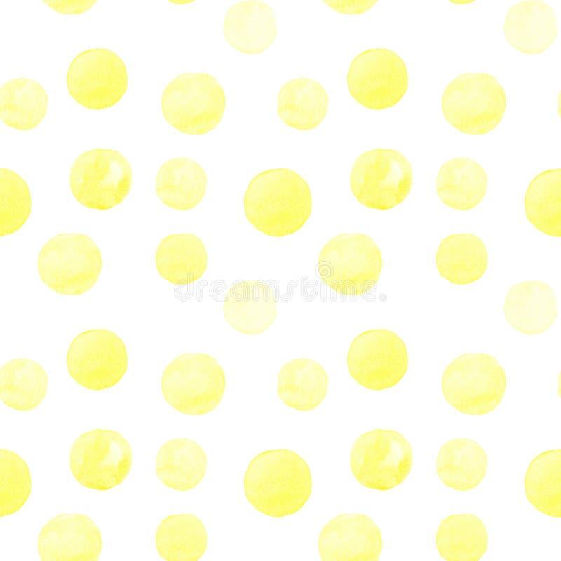Modelo inconsútil de las formas redondas pintadas a mano de la acuarela amarilla, manchas, círculos, gotas aislados en el fondo b libre illustration