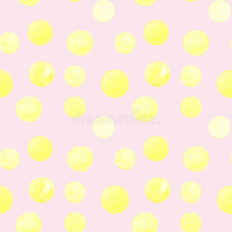 Modelo inconsútil de las formas redondas pintadas a mano de la acuarela amarilla, manchas, círculos, gotas aislados en fondo rosa ilustración del vector