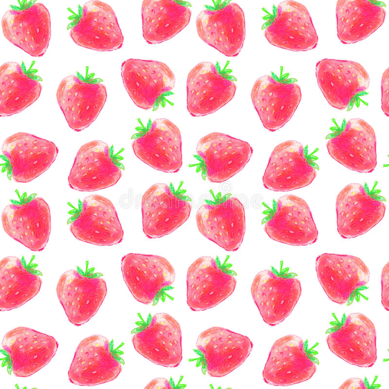 Modelo inconsútil de las fresas de la acuarela imagen de archivo
