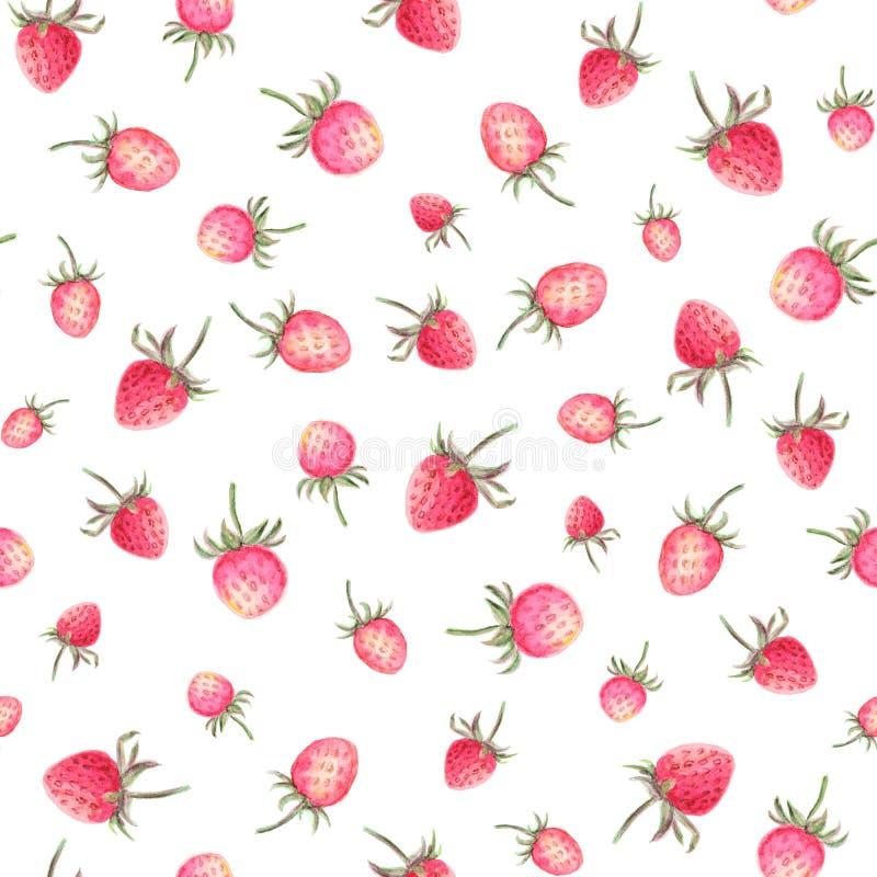 Modelo inconsútil de las fresas de la acuarela stock de ilustración
