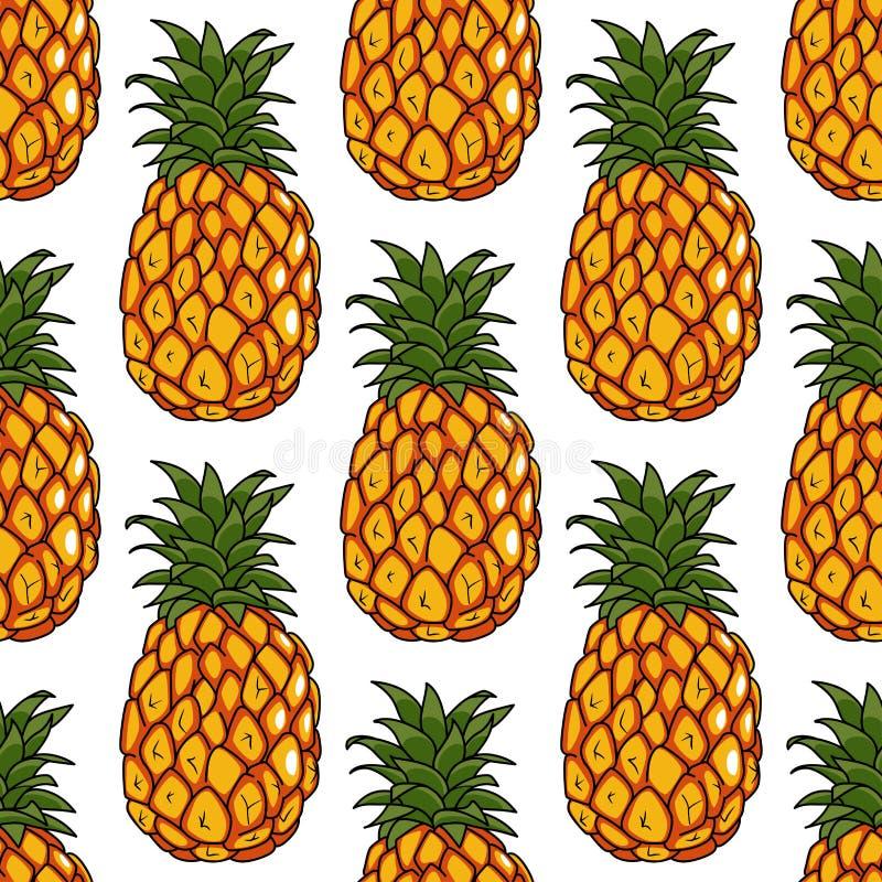 Modelo inconsútil de las frutas de las piñas stock de ilustración