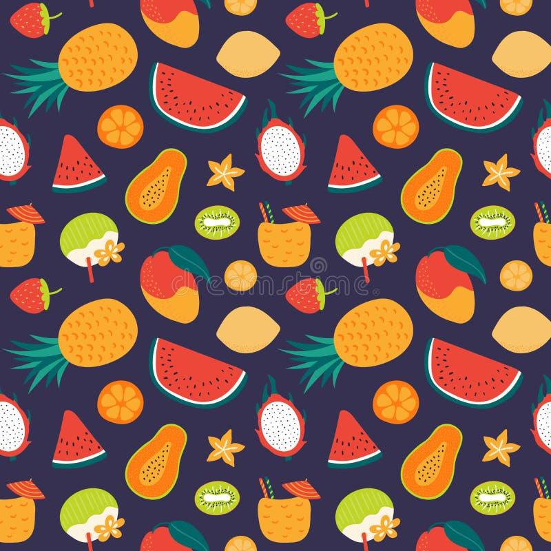 Modelo inconsútil de las frutas del verano stock de ilustración