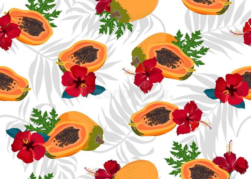 Modelo inconsútil de las frutas de la papaya en el fondo blanco con las hojas de palma grises y la flor roja del hibisco, aliment libre illustration