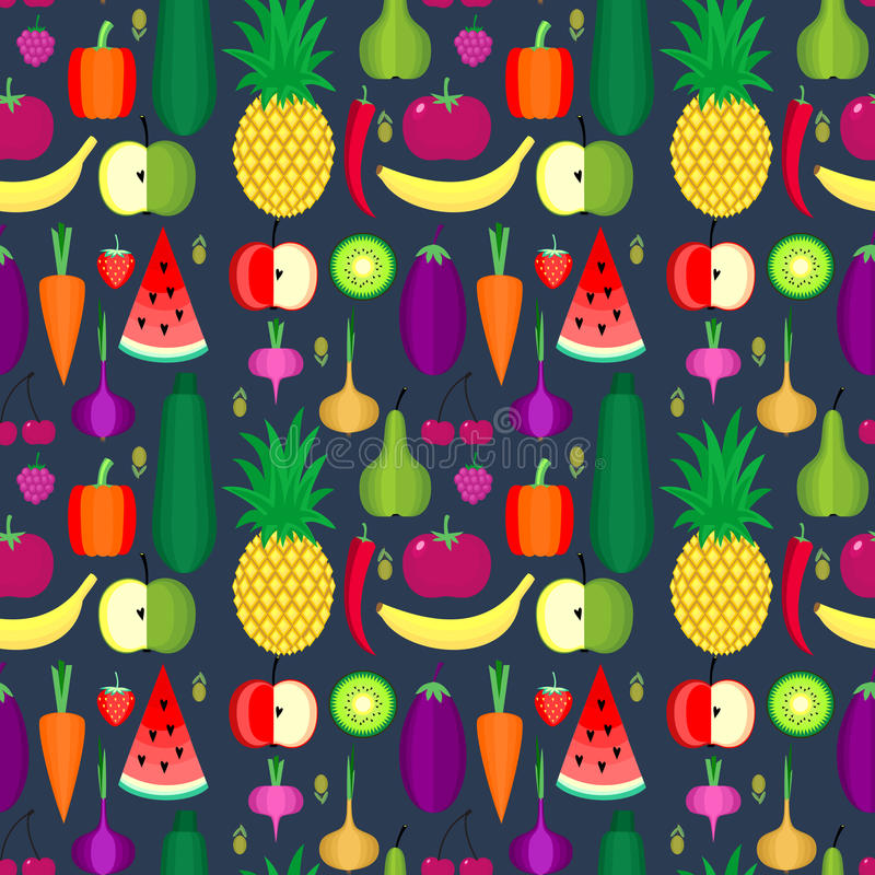 Modelo inconsútil de las frutas y verdura Elemento sano del diseño de la forma de vida o del vector de la dieta stock de ilustración