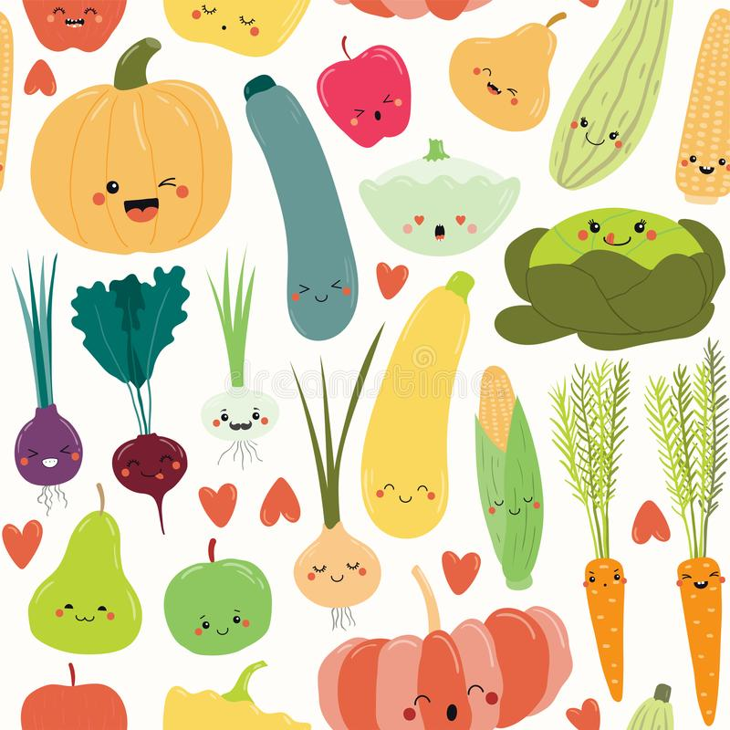 Modelo inconsútil de las frutas y verduras de Kawaii ilustración del vector
