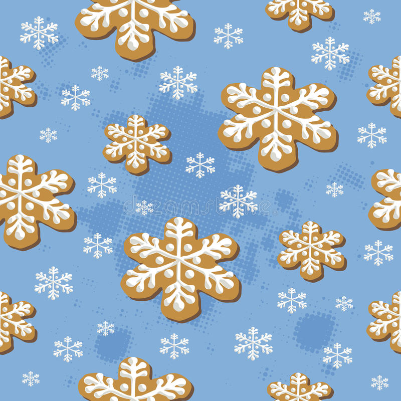 Modelo inconsútil de las galletas de la Navidad stock de ilustración