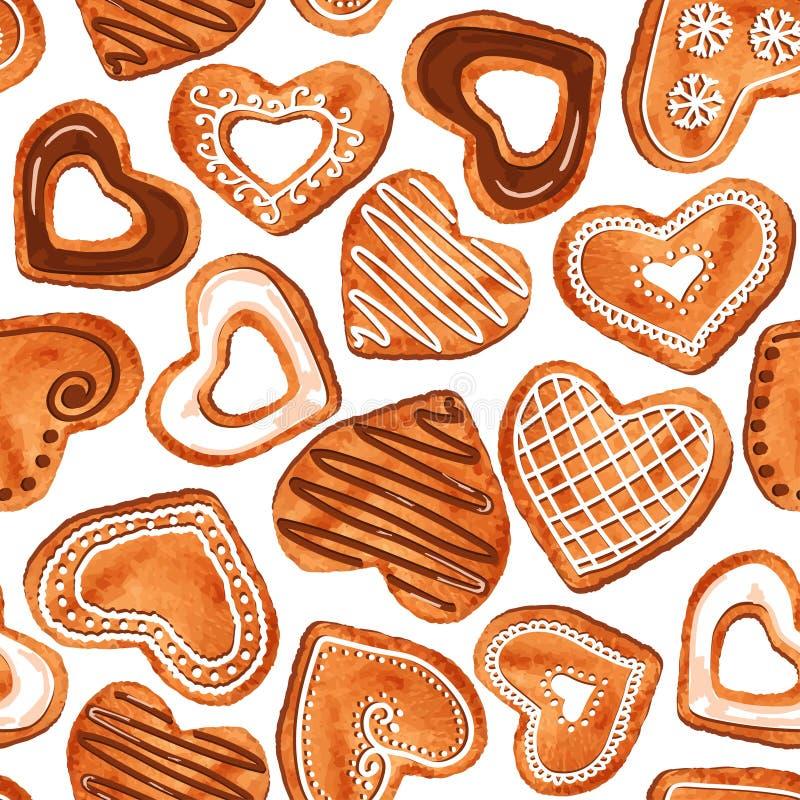 Modelo inconsútil de las galletas del corazón de la acuarela libre illustration