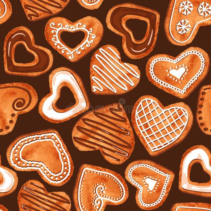 Modelo inconsútil de las galletas del corazón de la acuarela stock de ilustración