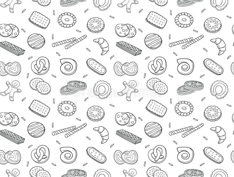 Modelo inconsútil de las galletas y de la galleta del garabato stock de ilustración