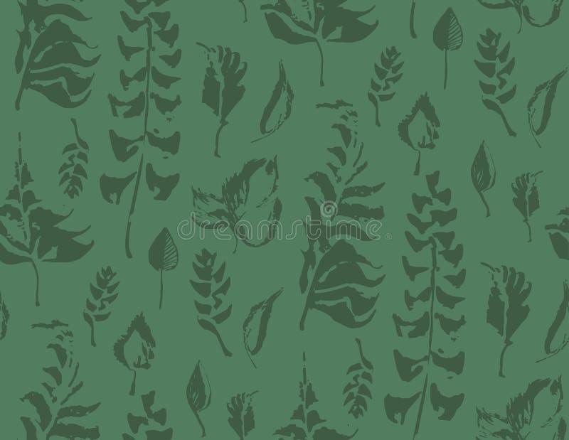 Modelo inconsútil de las hierbas Hojas pintadas en colores verdes Fondo dibujado mano del vector stock de ilustración