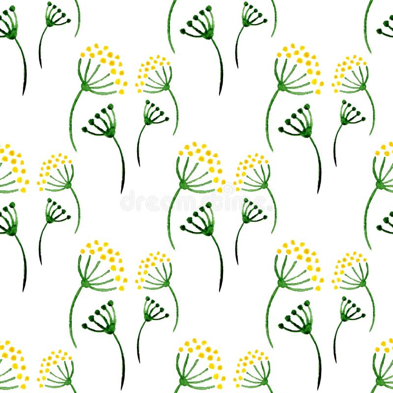 Modelo inconsútil de las hierbas simples de la acuarela Fondo con eneldo de la flor Vector el ejemplo para envolver, materia text stock de ilustración