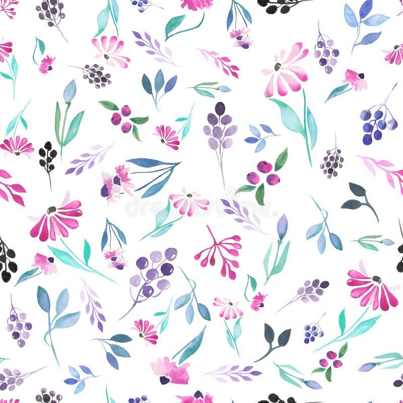 Modelo inconsútil de las hojas azules de la acuarela, de las flores púrpuras y de las bayas stock de ilustración
