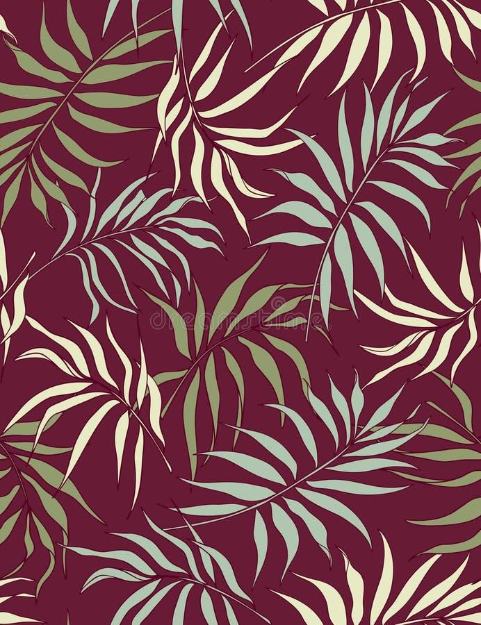Modelo inconsútil de las hojas de la palma stock de ilustración