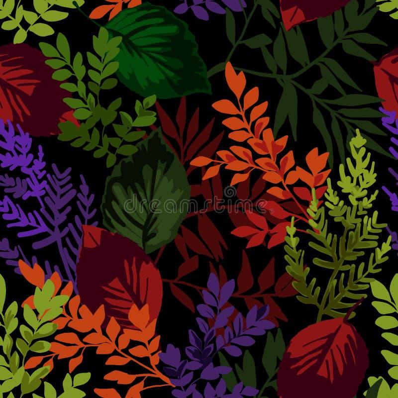 Modelo inconsútil de las hojas de otoño stock de ilustración