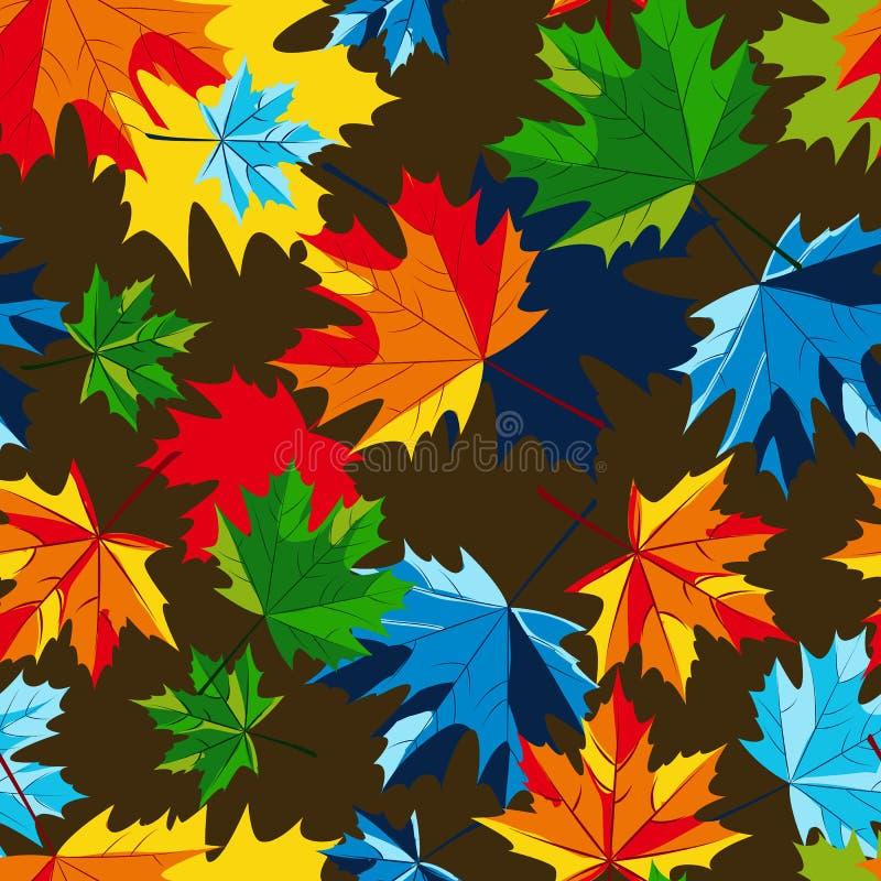 Modelo inconsútil de las hojas de otoño del arce del vector Fondo multicolor de la caída con las hojas stock de ilustración