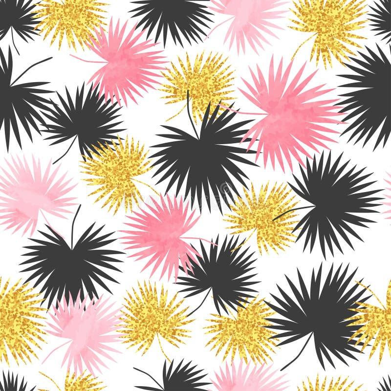 Modelo inconsútil de las hojas de palma del vector stock de ilustración