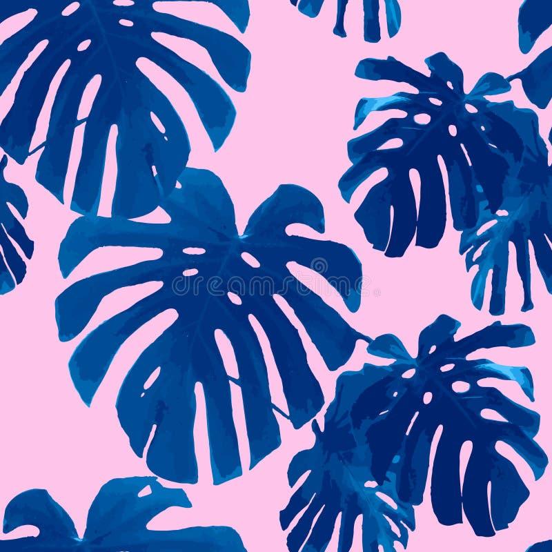 Modelo inconsútil de las hojas de palma tropicales ilustración del vector