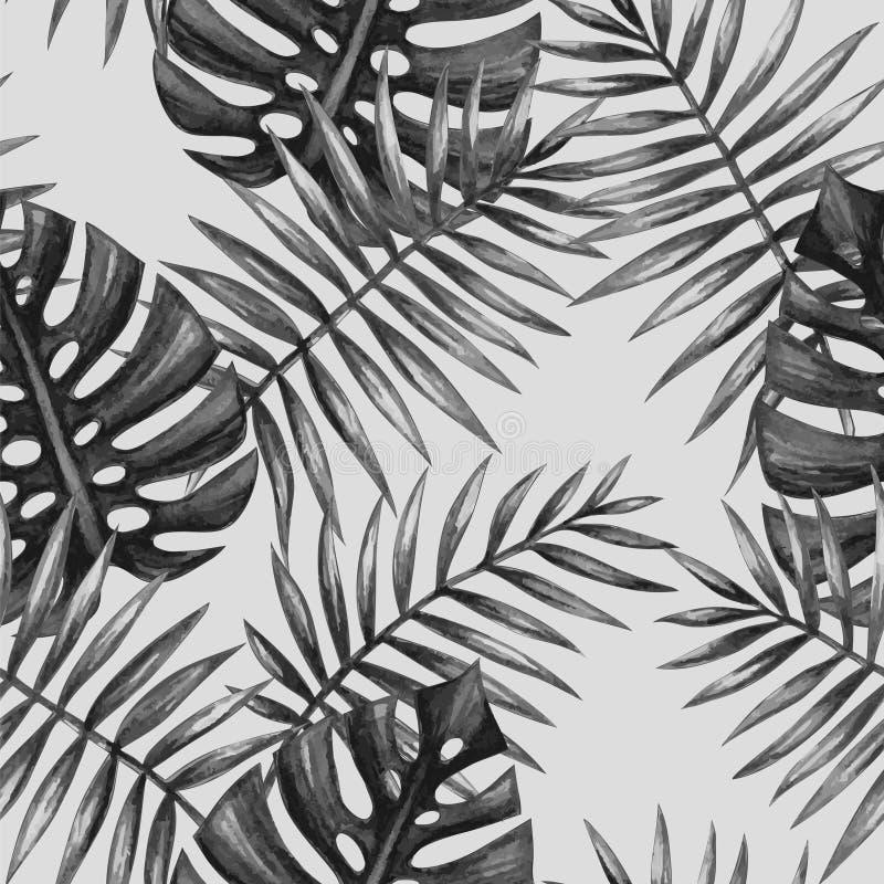 Modelo inconsútil de las hojas de palma tropicales de la acuarela ilustración del vector