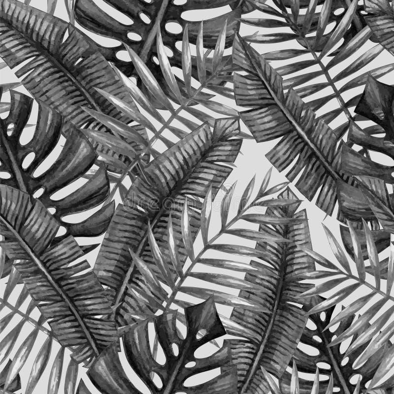 Modelo inconsútil de las hojas de palma tropicales de la acuarela stock de ilustración
