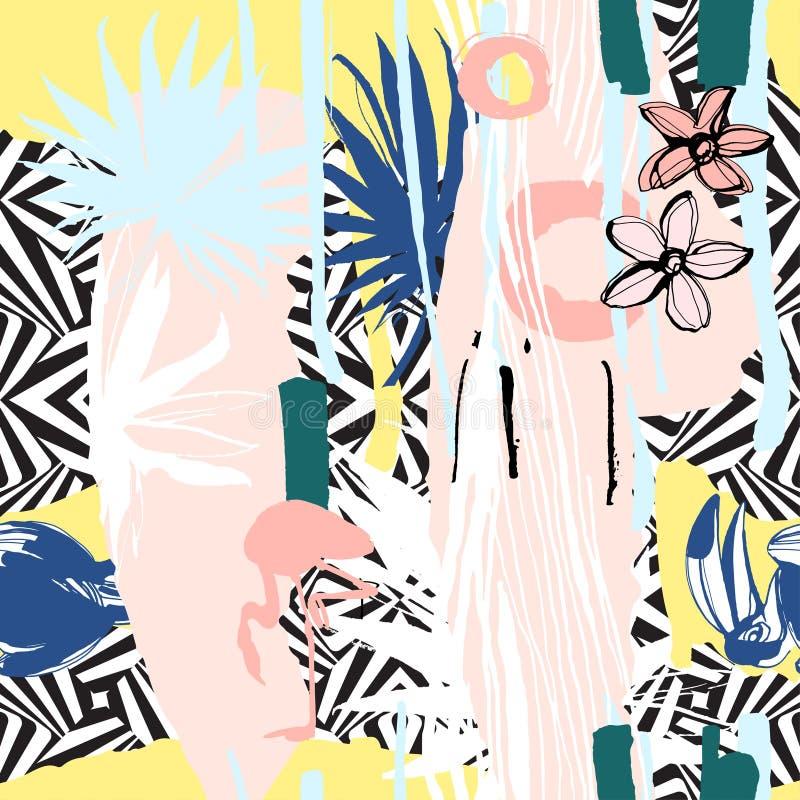 Modelo inconsútil de las hojas de palma tropicales dibujadas mano, flores, pájaros stock de ilustración