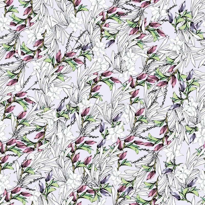 Modelo inconsútil de las hojas del contorno y de las flores rosadas Fondo floral del verano Textura del vintage para la tela, tej stock de ilustración
