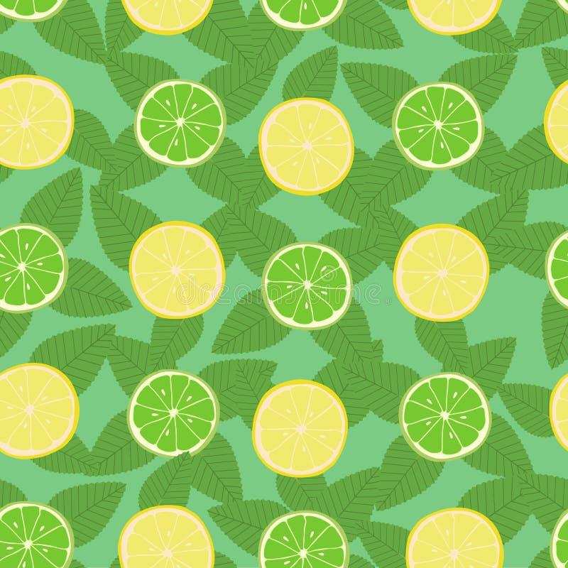 Modelo inconsútil de las hojas del limón, de la cal y de menta libre illustration