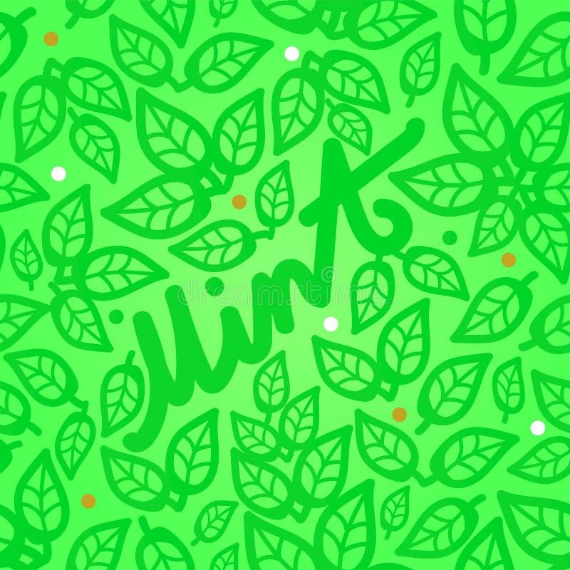 Modelo inconsútil de las hojas de menta fresca en un fondo verde con una inscripción hermosa stock de ilustración