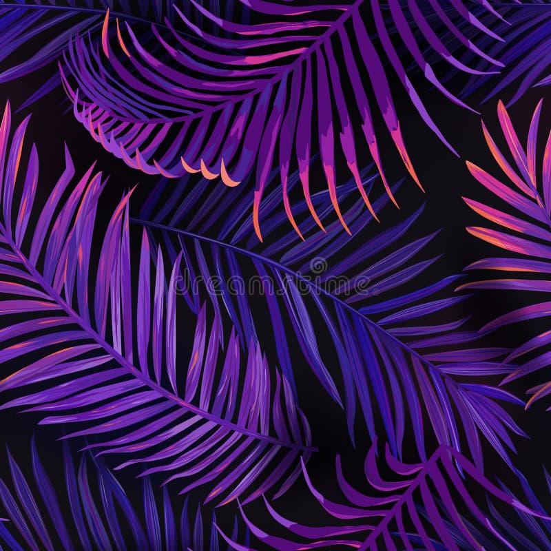 Modelo inconsútil de las hojas de palma de neón tropicales Fondo floral coloreado púrpura de la selva Follaje botánico exótico de stock de ilustración