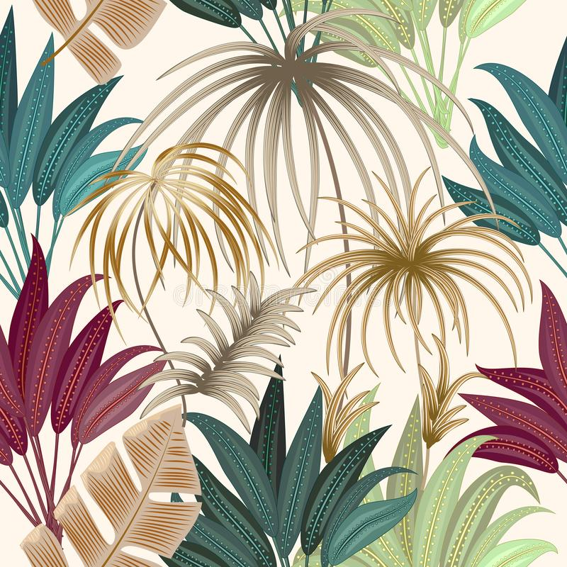 Modelo inconsútil de las hojas de palma tropicales de la planta exótica de la selva, la Florida stock de ilustración