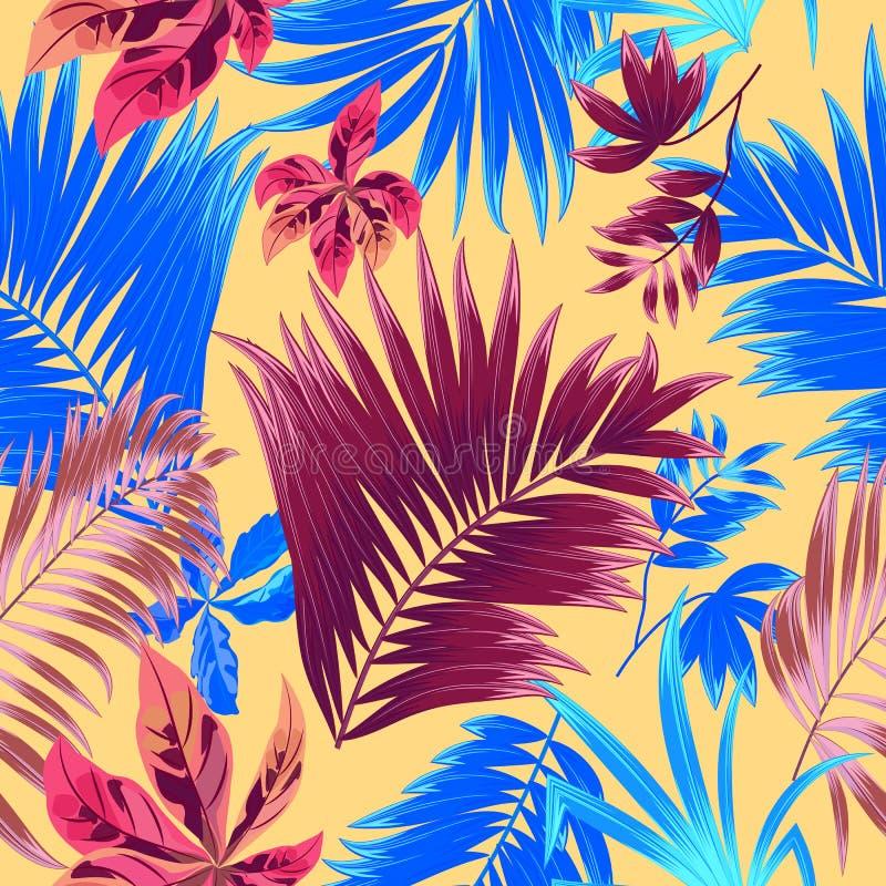 Modelo inconsútil de las hojas de palma tropicales de la selva libre illustration