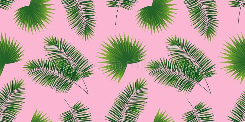 Modelo inconsútil de las hojas de las palmas Fondo tropical lindo de la plantilla Ilustración del vector textura de las plantas d stock de ilustración