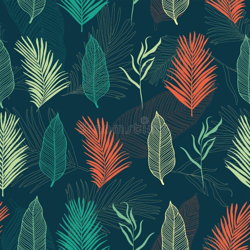 Modelo inconsútil de las hojas tropicales - hojas elegantes en fondo azul marino - grande para las materias textiles, telas, libre illustration