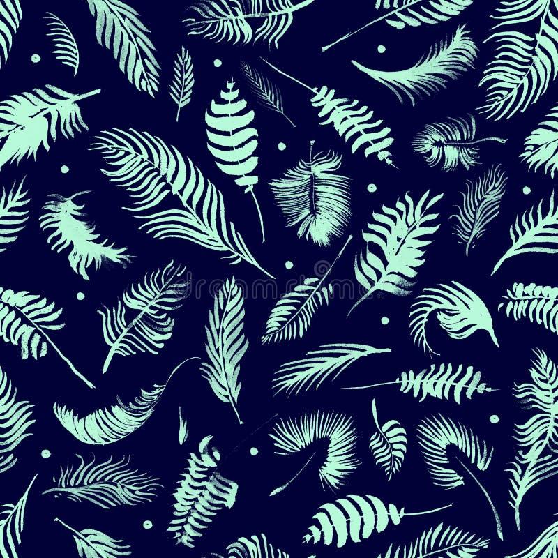 Modelo inconsútil de las hojas tropicales en fondo del añil Papel pintado ex?tico
