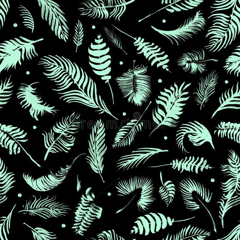 Modelo inconsútil de las hojas tropicales en fondo negro Papel pintado ex?tico