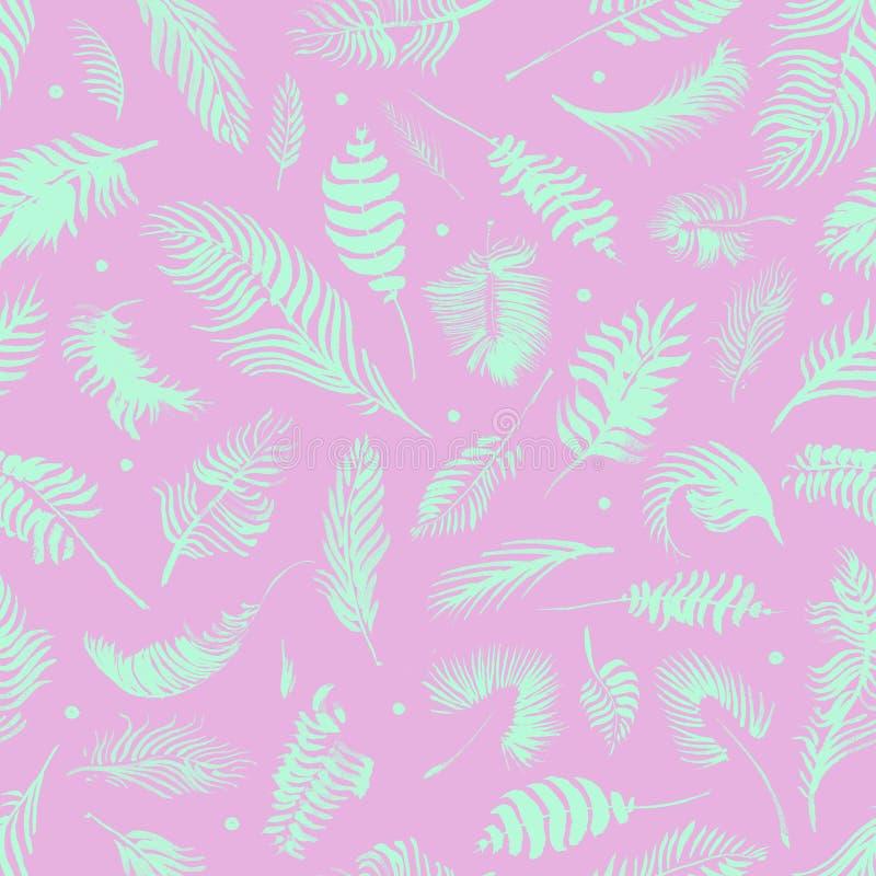 Modelo inconsútil de las hojas tropicales en fondo rosado Papel pintado ex?tico