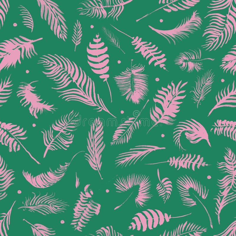 Modelo inconsútil de las hojas tropicales en fondo verde Papel pintado ex?tico