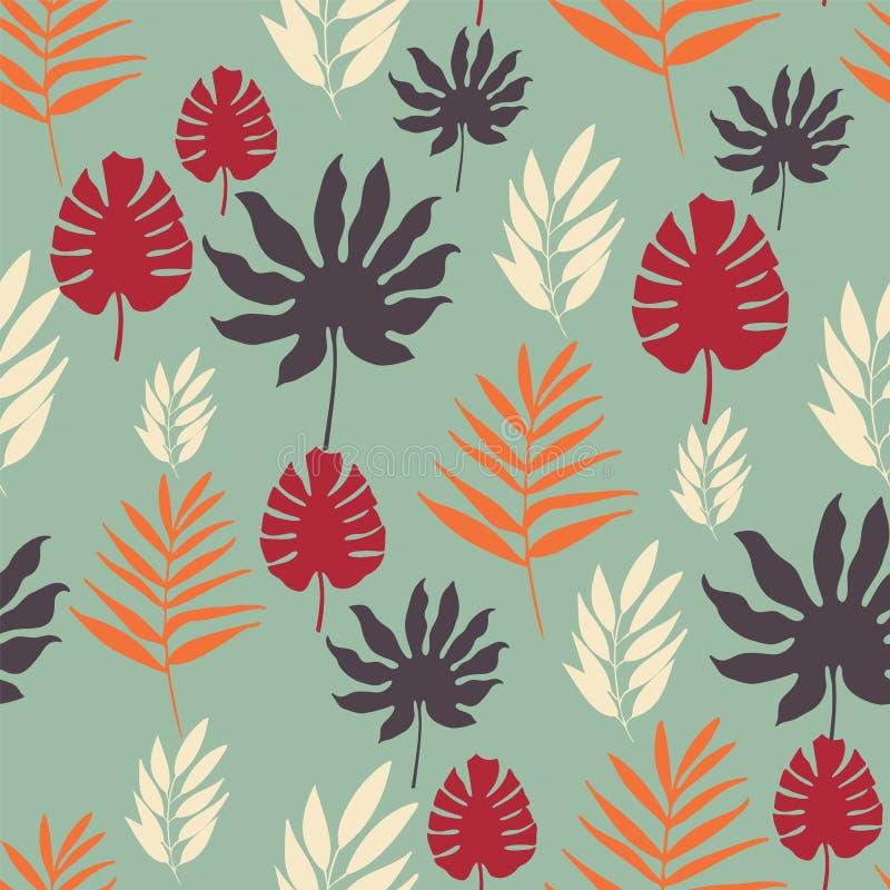 Modelo inconsútil de las hojas tropicales exóticas del vector en fondo azul claro stock de ilustración