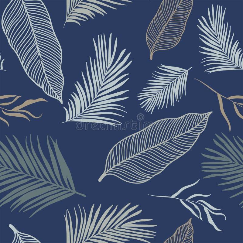 Modelo inconsútil de las hojas tropicales - oro elegante, hojas blancos y negros - grande para las materias textiles, telas, pape stock de ilustración