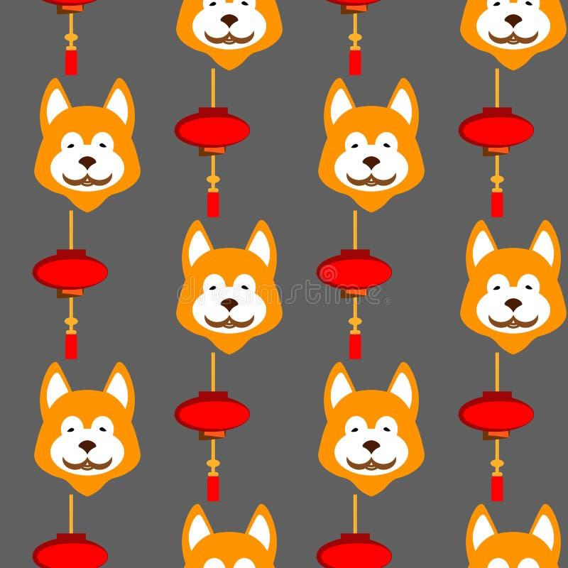 Modelo inconsútil de las linternas chinas - dé las luces rojas y blancas exhaustas en fondo del oro stock de ilustración