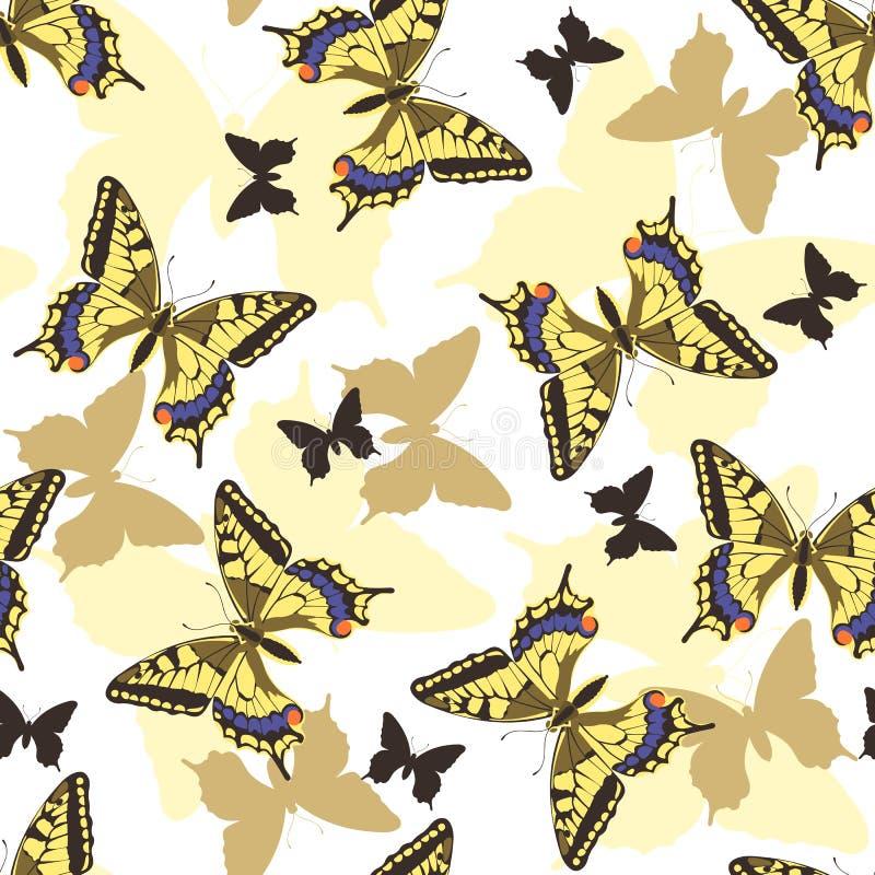 Modelo inconsútil de las mariposas ilustración del vector