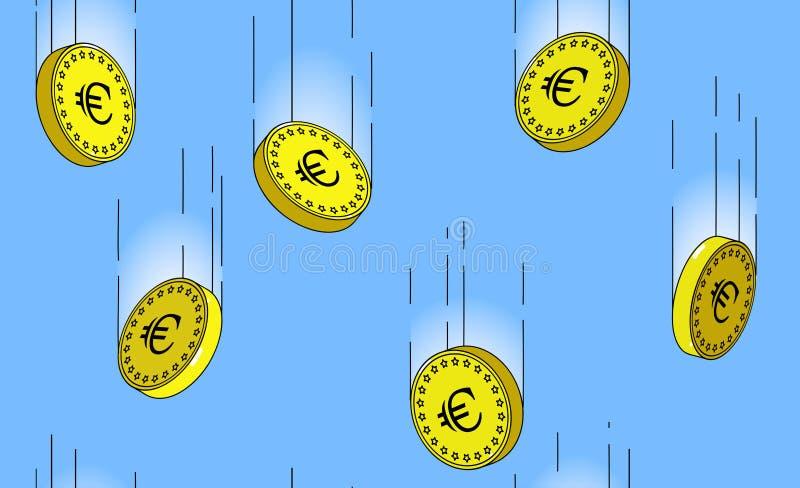 Modelo inconsútil de las monedas de oro euro que caen en el aire stock de ilustración