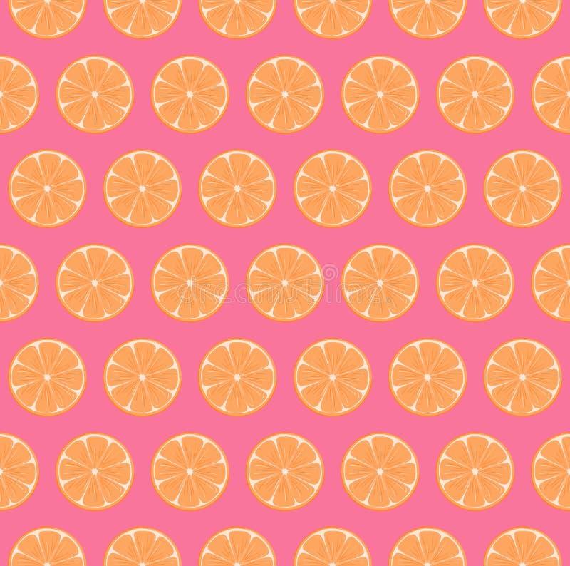Modelo inconsútil de las naranjas regulares brillantes y coloridas con el fondo rosado brillante libre illustration