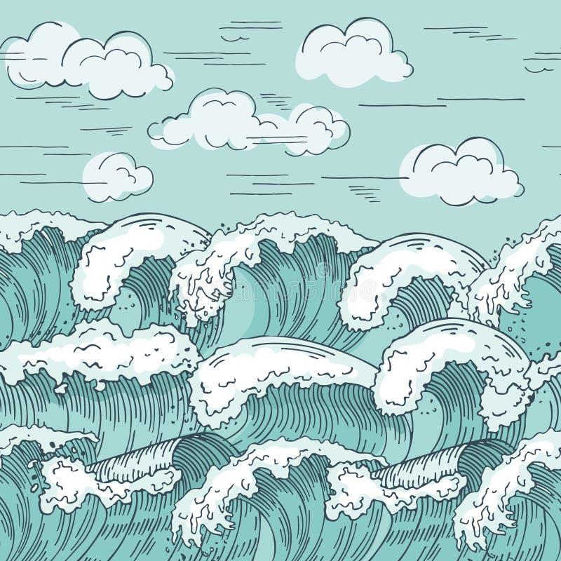 Modelo inconsútil de las ondas de océano Fondo dibujado mano de los ejemplos del vector stock de ilustración