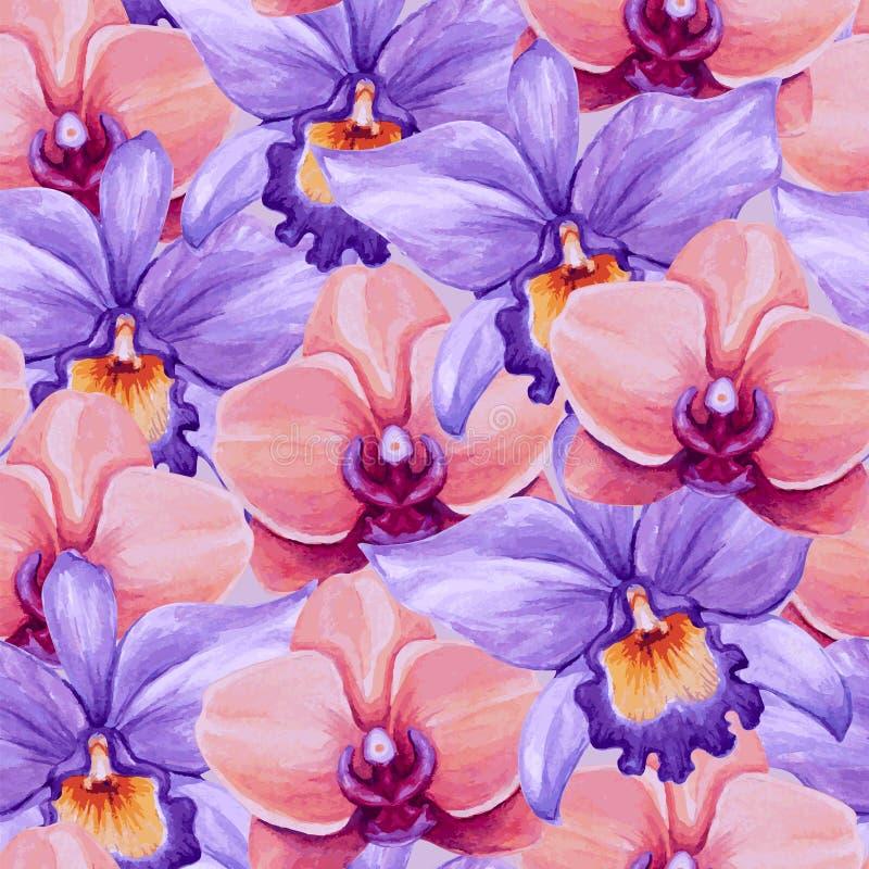Modelo inconsútil de las orquídeas hermosas de la acuarela stock de ilustración