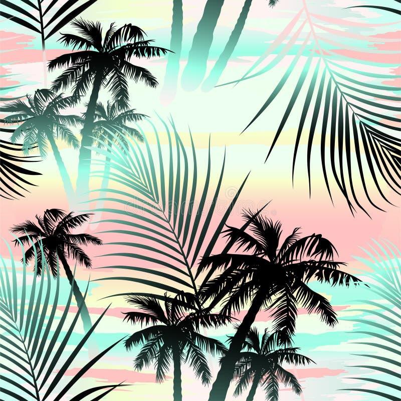Modelo inconsútil de las palmas tropicales del verano libre illustration