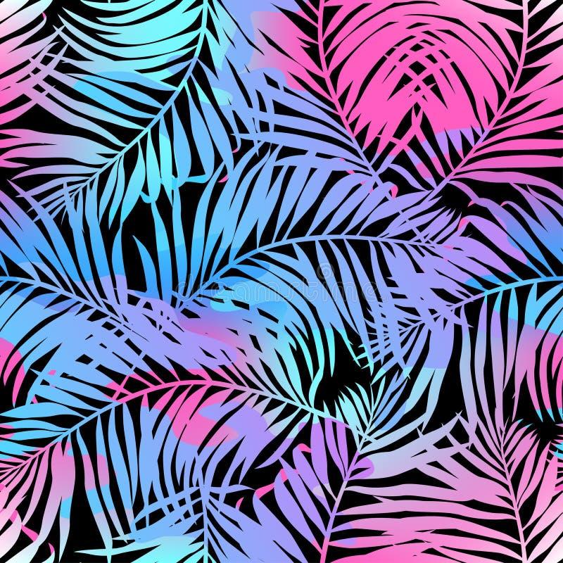 Modelo inconsútil de las palmas tropicales en colores ilustración del vector
