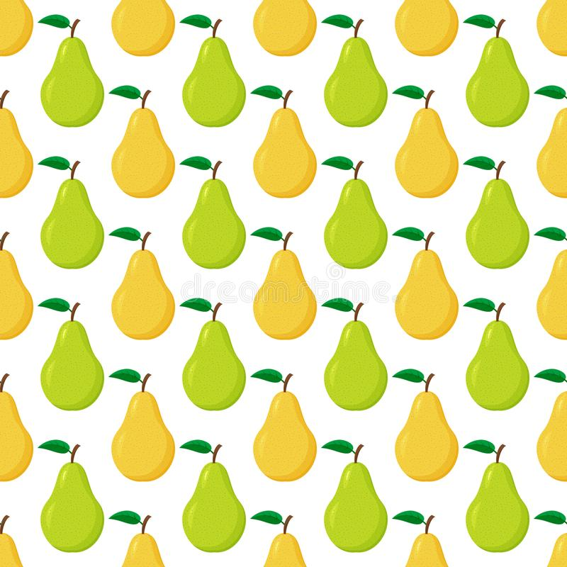 Modelo inconsútil de las peras verdes y amarillas maduras ilustración del vector