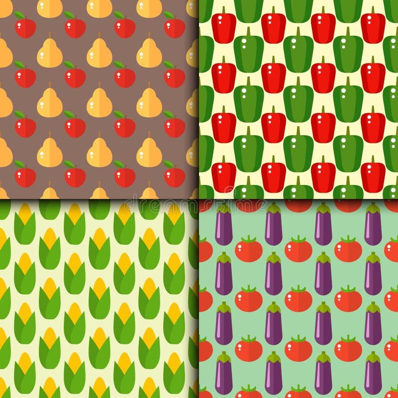 Modelo inconsútil de las pimientas del vector de la celulosa de la comida de las verduras de los tomates de la comida sana determ ilustración del vector