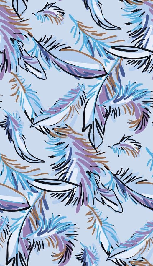 Modelo inconsútil de las plumas del vector del diseño de la flor del arte de la pintura del papel pintado colorido azul de la dec stock de ilustración
