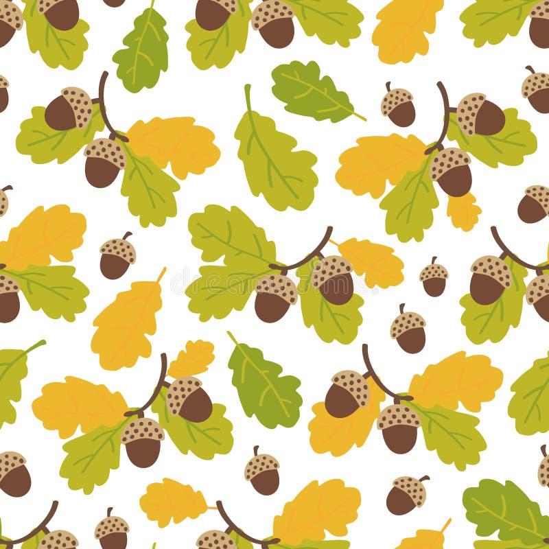 Modelo inconsútil de las ramas y de las bellotas del roble en un fondo blanco Autumn Pattern Ilustraci?n del vector ilustración del vector